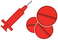 Icon of syringe and steroids